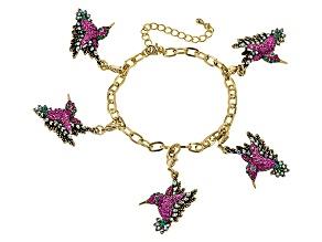 Multicolor Swarovski Elements ™ Antiqued Gold Tone Hummingbird Charm Bracelet