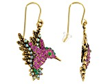 Multicolor Swarovski Elements ™ Antiqued Gold Tone Hummingbird Earrings