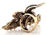 Off Park ® Collection Multicolor Swarovski Elements ™ Antiqued Gold Tone Hummingbird Ring