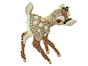 Multicolor Swarovski Elements ™ Silver Tone Fawn Pin.