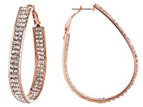 White Crystal Rose Tone Hoop Earrings