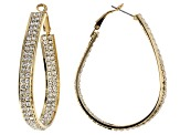 White Crystal Gold Tone Hoop Earrings