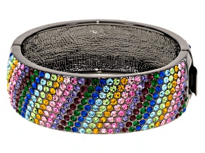 Rainbow Crystal Gunmetal Tone Bracelet