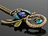 Multicolor Crystal Antique Gold Tone Mother And Baby Owl Brooch Pendant With Chain