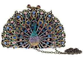 Multicolor Crystal,  Gunmetal and Gold Tone Peacock Clutch With Chain