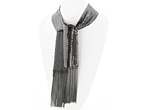 Silver Tone Mesh Shawl Necklace