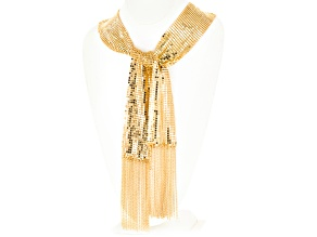 Gold Tone Mesh Shawl Necklace