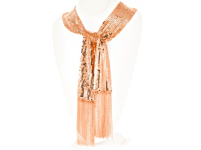 Rose Tone Mesh Shawl Necklace