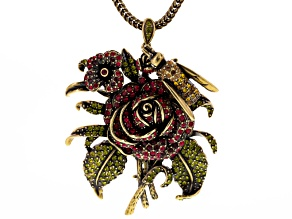 Multicolor Crystal Antiqued Gold Tone Rose With Bee Brooch Pendant With Chain