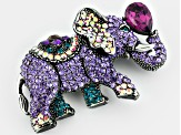 Gumetal Tone Multicolor Elephant Pin