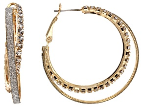 White Crystal Gold Tone Shimmer Hoop Earrings