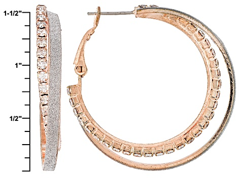 White Crystal Rose Tone Shimmer Hoop Earrings