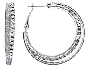 White Crystal Silver Tone Shimmer Hoop Earrings