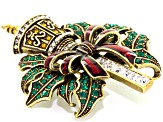 Antiqued Gold Tone Multicolor Crystal Enamel Christmas Lamppost Brooch