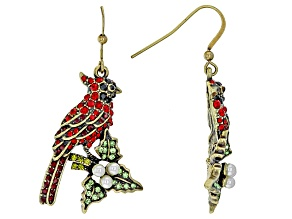 Multicolor Crystal Pearl Simulant Antiqued Gold Tone Cardinal Earrings