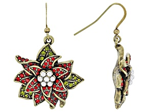 Multicolor Crystal Pearl Simulant Antiqued Gold Tone Poinsettia Earrings