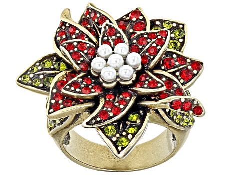 Multicolor Crystal Pearl Simulant Antiqued Gold Tone Poinsettia Ring