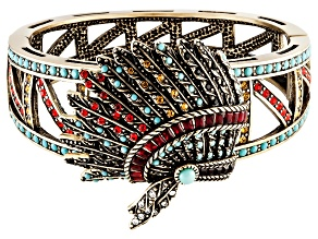 Multicolor Crystal Imitation Turquoise Antiqued Gold Tone Headdress Bracelet