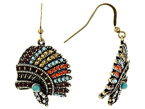 Multicolor Crystal Antiqued Gold Tone Headdress Earrings