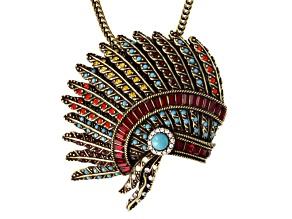 Antique Bronze Tone Multicolor Crystal Headdress Brooch Pendant
