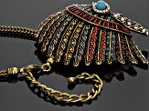 Antique Bronze Tone Multicolor Crystal Headdress Brooch Pendant