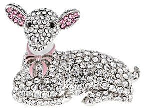 Pink, White And Black Crystal Enamel Silver Tone Lamb Brooch
