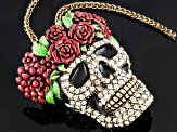 Multicolor Enamel White Crystal Day Of The Dead Skull Pin Pendant With Chain