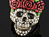 Multicolor Enamel White Crystal Antique Bronze Tone Day Of The Dead Skull Ring