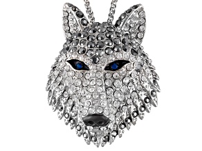 Multicolor Crystal Enamel Silver Tone Wolf Pin Pendant With Chain