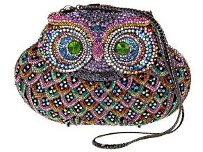 Multicolor Crystal Owl Clutch