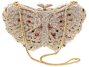Multicolor Crystal Gold Tone Butterfly Clutch With Chain