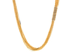 White Crystal Gold Tone Multi-Strand Necklace