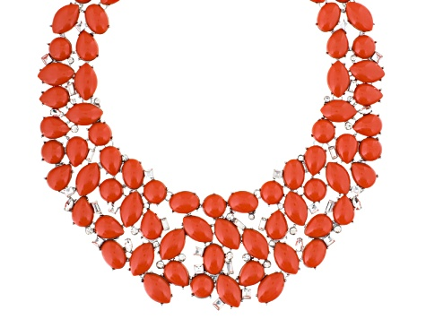 Imitation Coral White Crystal Silver Tone Necklace