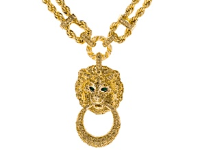 Champagne And Green Crystal Gold Tone Lion Necklace