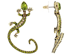 Green And Champagne Crystal Antique Gold Tone Lizard Ear Cuff
