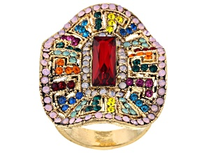 Multicolor Crystal Antiqued Gold Tone Ring
