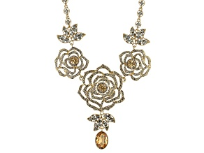 Multicolor Crystal Floral Design Necklace