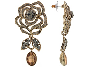 Brown Crystal Gray Crystal Antiqued Gold Tone Floral Design Earrings