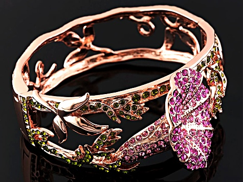 Pink And Green Crystal Rose Tone Flower Bangle