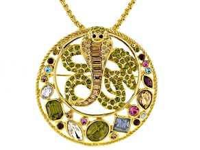 Multicolor Crystal Gold Tone Snake Pin Pendant With Chain