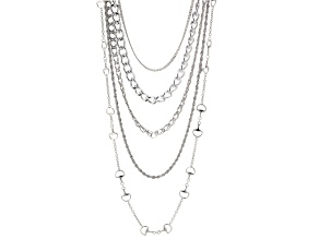 White Crystal Multi-Chain Multi Layer Necklace