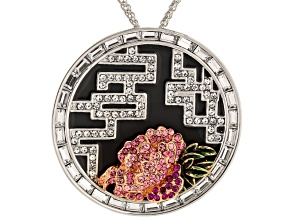 White Crystal Pink Crystal Black Enamel Silver Tone Petal With Flower Pin Pendant With Chain