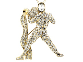 White Crystal Gold Tone Aquarius Pin Pendant With Chain
