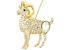 White Crystal Gold Tone Aries Pin Pendant With Chain