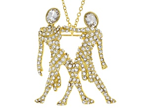 White Crystal Gold Tone Gemini Pin Pendant With Chain