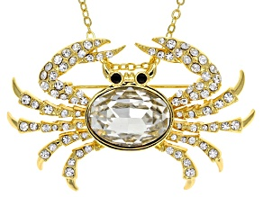White Crystal Gold Tone Cancer Pin Pendant With Chain