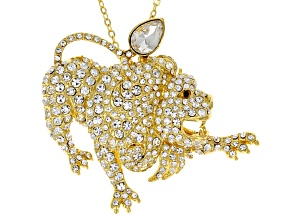 White Crystal Gold Tone Leo Pin Pendant With Chain
