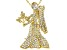 White Crystal Gold Tone Virgo Pin Pendant With Chain