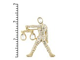 Gold Tone White Crystal Libra Pin Pendant With Chain