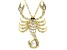 White Crystal Gold Tone Scorpio Pin Pendant With Chain